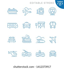 Public transport related icons. Editable stroke. Thin vector icon set