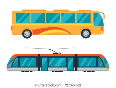 Public transport represented by yellow bus and electric train with large windows. Vector illustration of vehicles isolated on white background