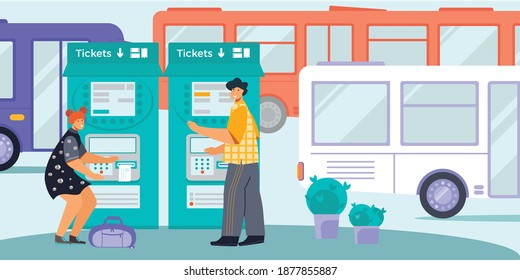 Public transport self service ticket machine for bus tram flat composition with male female passengers vector illustration