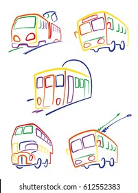 Public transport. Set icons, a child's drawing, public transport. Vector.