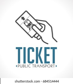 Public transport ticket logo - subway metro railway
