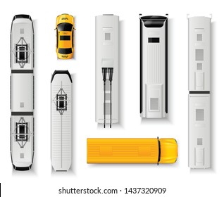 Public transport top view realistic icons set with bus taxi tram train isolated on white background vector illustration