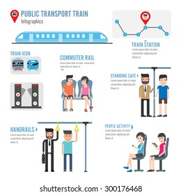 Public transport train infographics