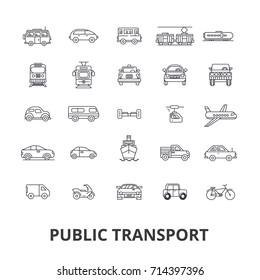 Public transport, transportation, subway, bus stop, traffic, taxi, city bus line icons. Editable strokes. Flat design vector illustration symbol concept. Linear signs isolated