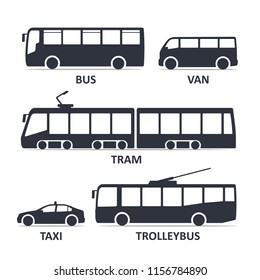 Public transport type icons set. Bus, Van, Tram, Taxi, Trolleybus. Vector black illustration isolated on white background with title. Variants of car body silhouette for web.