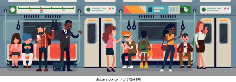 Public transport vector concept illustration on urban underground tube mass transit passengers. Diverse group of commuters using their mobile devices. Subway or underground car interior with people