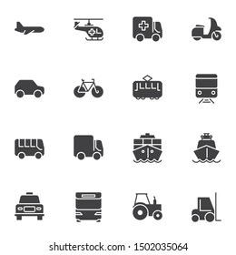 Public transport vector icons set, Symbol collection, filled style pictogram pack. Signs, logo illustration. Set includes icons as plane, helicopter, ambulance truck, tram, railway train, ship, taxi