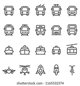 Public transport vector outline style icon set. Front view land, water, air transport symbols. Marking of transport stops.