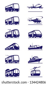Public transportation icon set - vector illustration