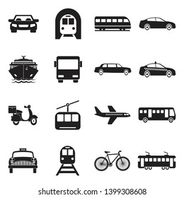 Public Transportation Icons. Black Flat Design. Vector Illustration.