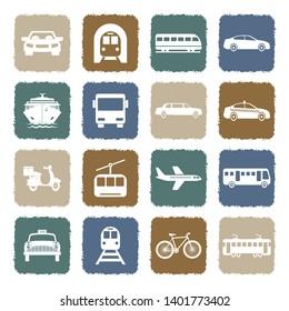 Public Transportation Icons. Grunge Color Flat Design. Vector Illustration.