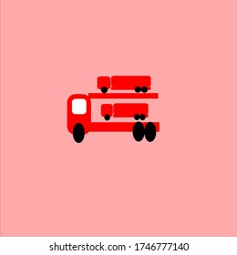 public transportation vehicles, trucks are red illustration vector graphic