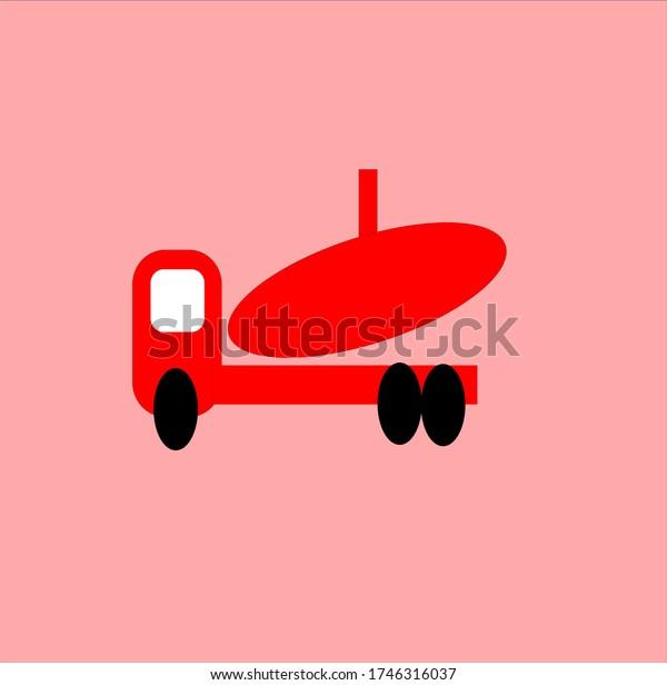 public transportation vehicles, trucks are red illustration vector graphic