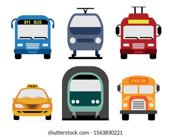 Public urban transport. Public service vehicles. Set of front view flat icons of bus public services, trolleybus, tramway, metro, taxi service and school bus.