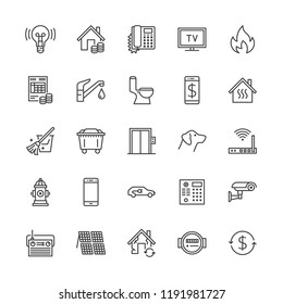 Public utilities flat line icons. Rent receipt, electricity water, gas, house heating, CCTV, overhaul, garbage vector illustrations. Thin signs utility invoice. Pixel perfect 64x64. Editable Strokes