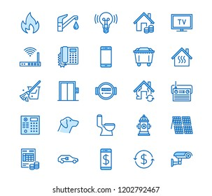 Public utilities flat line icons. Rent receipt, electricity water, gas, house heating, CCTV, overhaul, garbage vector illustrations. Thin signs utility invoice. Pixel perfect 64x64 Editable Strokes
