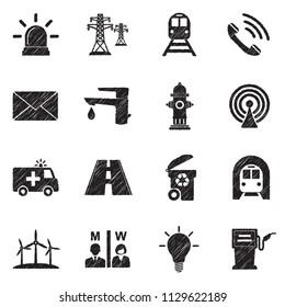 Public Utility Icons. Black Scribble Design. Vector Illustration.