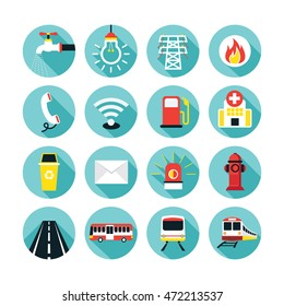 Public Utility Icons Flat Set, Water Supply, Electricity, Fuel, Road and Transport