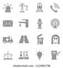 Public Utility Icons. Gray Flat Design. Vector Illustration.