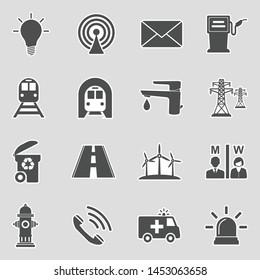 Public Utility Icons. Sticker Design. Vector Illustration.