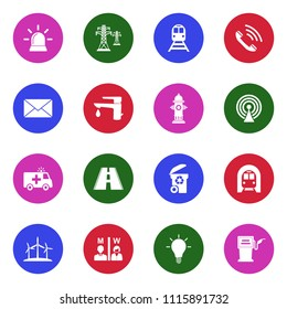 Public Utility Icons. White Flat Design In Circle. Vector Illustration.