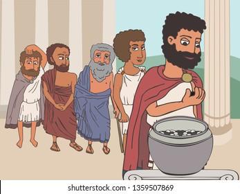 public voting in Ancient Greece by placing pebbles in urn, funny cartoon vector illustration of democracy origins