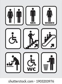 Public warning sign design vector, Men And Women Toilet wheelchair, Staircase, Garbage dump