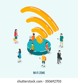 Public Wi-Fi zone wireless connection technology. Isometric 3d vector illustrations