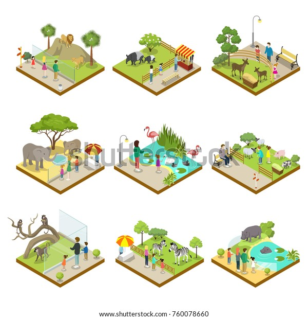 Public Zoo Wild Animals Landscapes Isometric Stock Vector (Royalty
