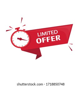 Publication, advertising, promulgation and subsequent offer to obtain a profitable purchase or transaction in a limited time. Countdown for any type of sale or offer.Vector image in red color, alarm
