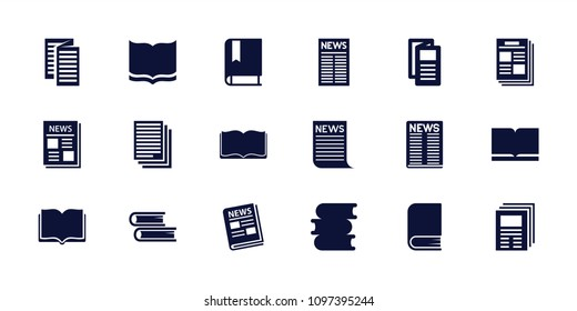 Publication icon. collection of 18 publication filled icons such as book, news. editable publication icons for web and mobile.