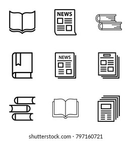 Publication icons. set of 9 editable outline publication icons such as book, news
