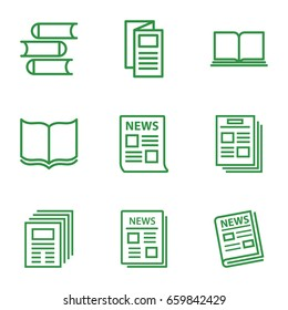 Publication icons set. set of 9 publication outline icons such as book, news