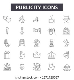 Publicity line icons, signs set, vector. Publicity outline concept, illustration: publicity,advertising,marketing,business,media,advertisement,promotion,commercial