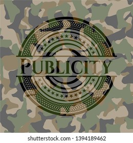Publicity on camo texture. Vector Illustration. Detailed.