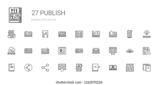 publish icons set. Collection of publish with news, book, share, open book, science book, books. Editable and scalable publish icons.