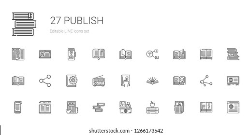 publish icons set. Collection of publish with news, books, book, open book, share, sharing, science book. Editable and scalable publish icons.
