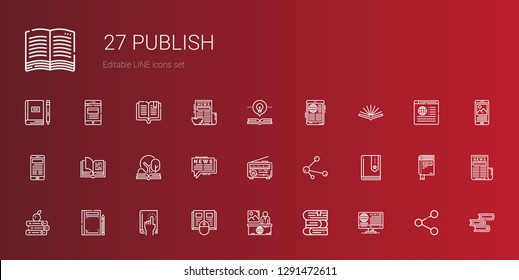 publish icons set. Collection of publish with news, books, book, share, open book. Editable and scalable publish icons.