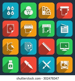 Publisher and printing house icons. Printer and paper, office equipment, scan machine and cmyk. Vector illustration