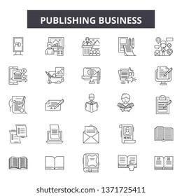 Publishing business line icons, signs set, vector. Publishing business outline concept, illustration: business,depaper,flat,publish,web