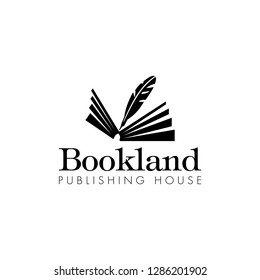 Publishing House logo design template and inspiration, with silhouettes of opened book and feather