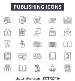 Publishing line icons, signs set, vector. Publishing outline concept, illustration: publish,education,debook,paper