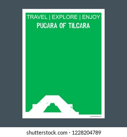 Pucara Of Tilcara Tilcara, Argentina monument landmark brochure Flat style and typography vector