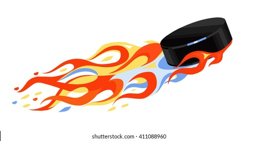 the puck is flying on a white background