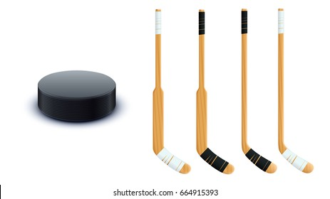 puck and sticks isolated