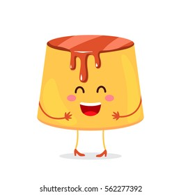 Pudding custard with caramel glaze - a funny character dessert. flat illustration in cartoon style isolated on white background. easy to use