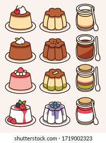 Pudding and panna cotta collection with different flavors and shapes: custard with caramel, chocolate and cream, green tea, mix berries. Traditional sweet dessert icon vector  illustration flat design