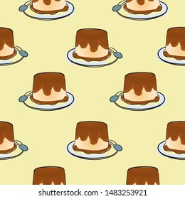 puding seamless pattern, two colors, pop art, vintage background