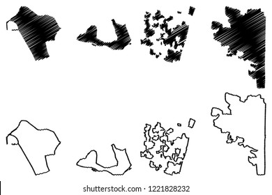 Puducherry ( Federated states, Republic of India) map vector illustration, scribble sketch Pondichery, Karikal (Karaikal), Mahe and Yanaon (Yanam, French India, Pondicherry) map