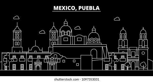 Puebla silhouette skyline. Mexico - Puebla vector city, mexican linear architecture, buildings. Puebla travel illustration, outline landmarks. Mexico flat icon, mexican line banner